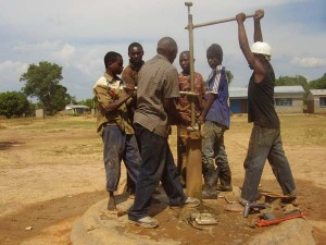 The crew works to repair the pump