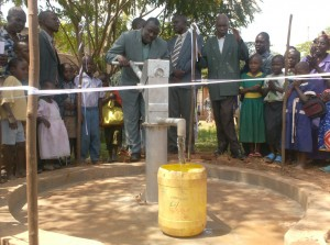 The Water Project : bwp-general-manager-testing-water-pump-during-handover-ceremony-at-ark-of-orphans