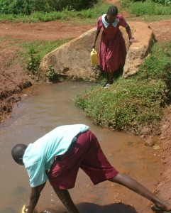 The Water Project : hirumbi-primary-school-pupils-fetching-water-current-water-source-copy
