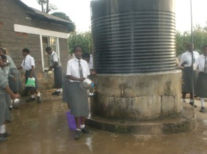 The Water Project : mukumu-girls-high-school-current-water-sourceharvested-rain-water