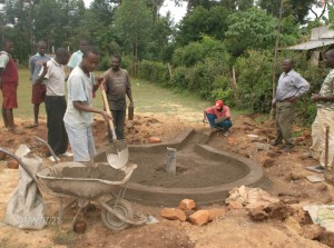 The Water Project : hirumbi-primary-school-men-at-work-during-construction-process