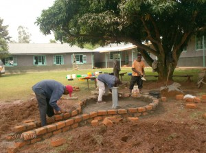 The Water Project : malindi-girls-high-school-bricks-attachment-during-construction-process