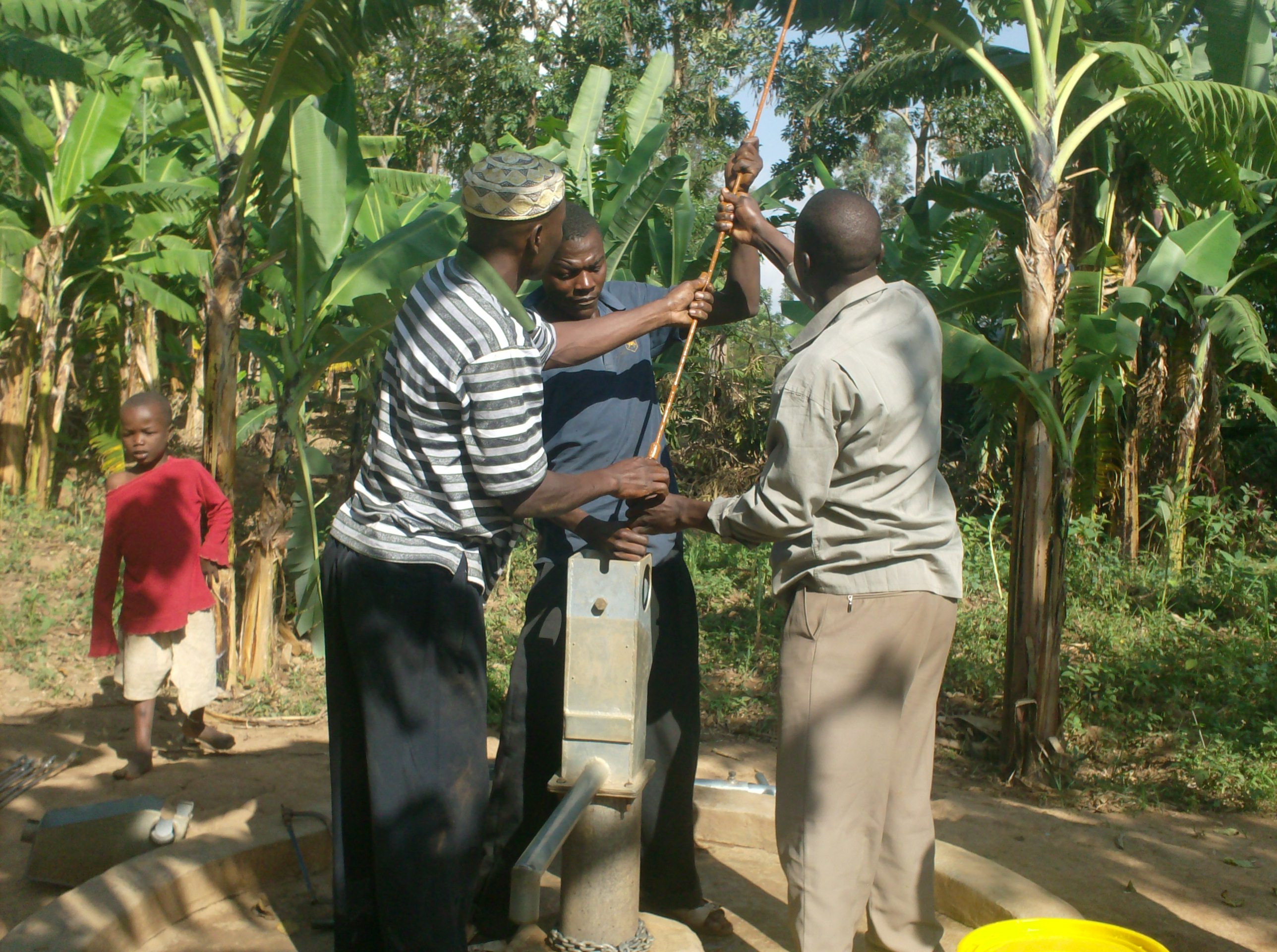 The Water Project : sokone-community-well-removal-of-rusted-rods-during-rehab