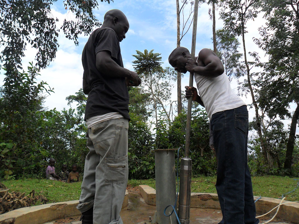 The Water Project : ready-to-put-the-pump-inside-the-well-for-test-pumping-shamakhubu
