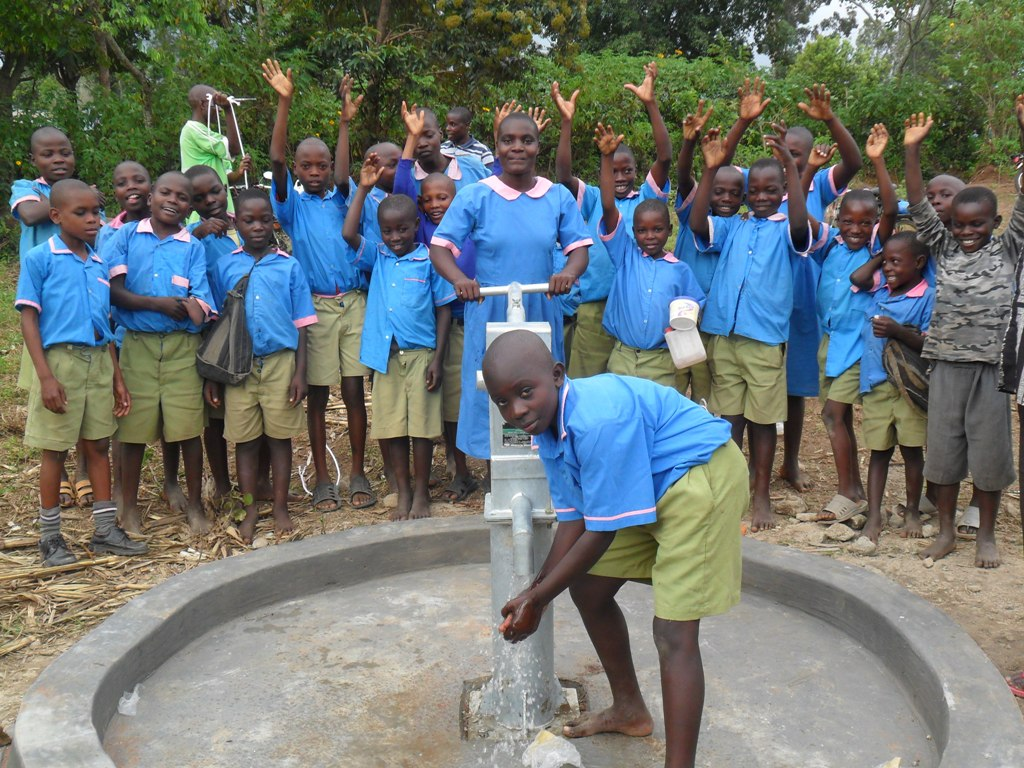 The Water Project : water-flowing-from-eshiamboko-water-project