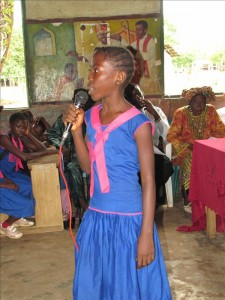 Fancynatu K. - Student, discussing her newly donated water project in Sierra Leone