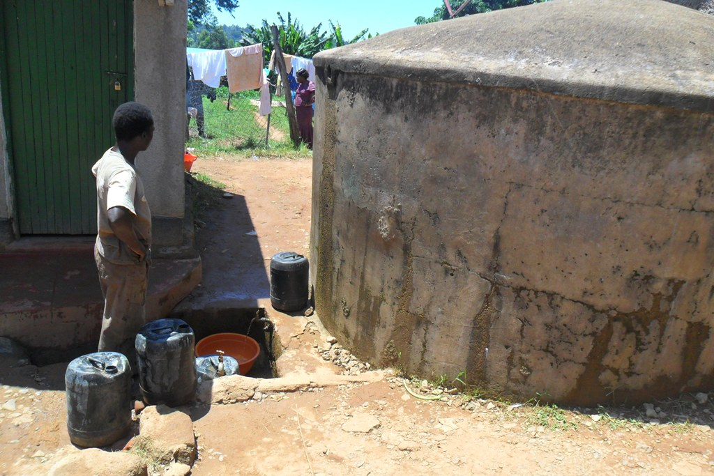 The Water Project : igunga-girls-water-tanks-relied-for-water-supply-2