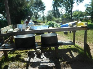 The Water Project : kenya4221-03-dish-rack-near-the-kictchen-at-tulon-sec-school