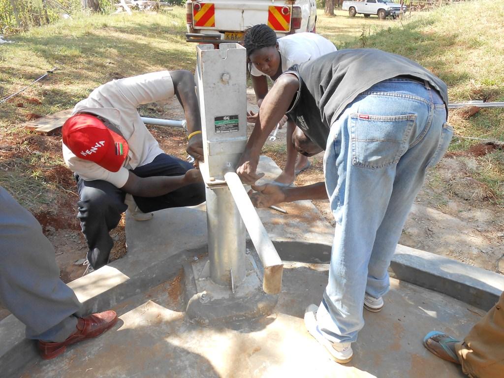 The Water Project : kenya4220-22-pump-installation-of-tuk-tuk-catholic-church