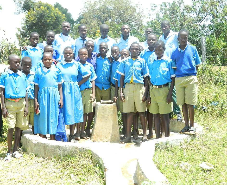 The Water Project : kenya4245-08-students-of-lukongo-primray-school-at-their-well