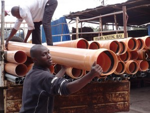 The Water Project : kenya-pamojamashimoni-10-construction-of-main-waterpipe-previously-implemented-2