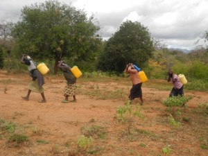 The Water Project : kenya4299-23-members-carry-water-home