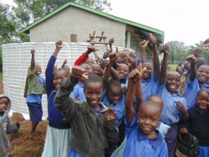 The Water Project : kenya4290-10-pupils-of-bulanda-primary-happy-with-the-progress-of-tank-construction