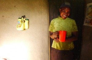 The Water Project : kenya4291-09-enjoying-a-cup-of-clean-water
