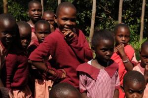 The Water Project : kenya4292-16-kids-in-uniform-outsid-classroom