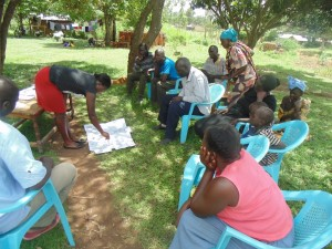 The Water Project : kenya4264-11-bwp-facilitator-demonstrating-disease-transmission-routes