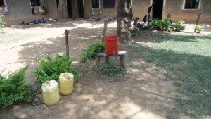 The Water Project : kenya4326-90-this-is-the-hand-washing-facility-that-is-used-only-by-teachers-from-eshinutsa-primary-school