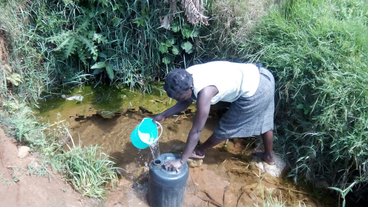 The Water Project : kenya4410-01-a-woman-is-fetching-water-from-unprotected-wabukhi-spring