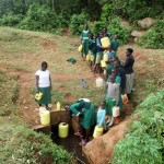 The Water Project: Ebukanga Primary School -  Line To Fetch Water