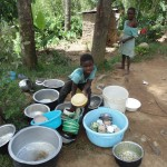 The Water Project: Shiamala Community -  Child Washing Utensils