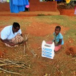 The Water Project: Mutambi Community, Kivumbi Spring -  Florence And Her Daughter Cutting Cassava Stems In Preparation For Planting Season
