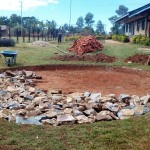 The Water Project: Bumira Secondary School -  Setting Tank Foundation