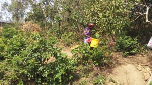The Water Project:  Mrs Amalavi Going To Fetch Water At The Spring