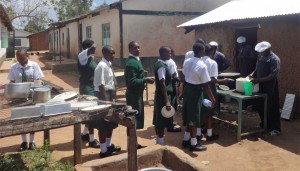 The Water Project:  Students Line Up For Lunch