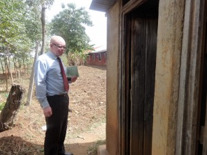 The Water Project:  Headteacher Gives Us Tour Of Latrines
