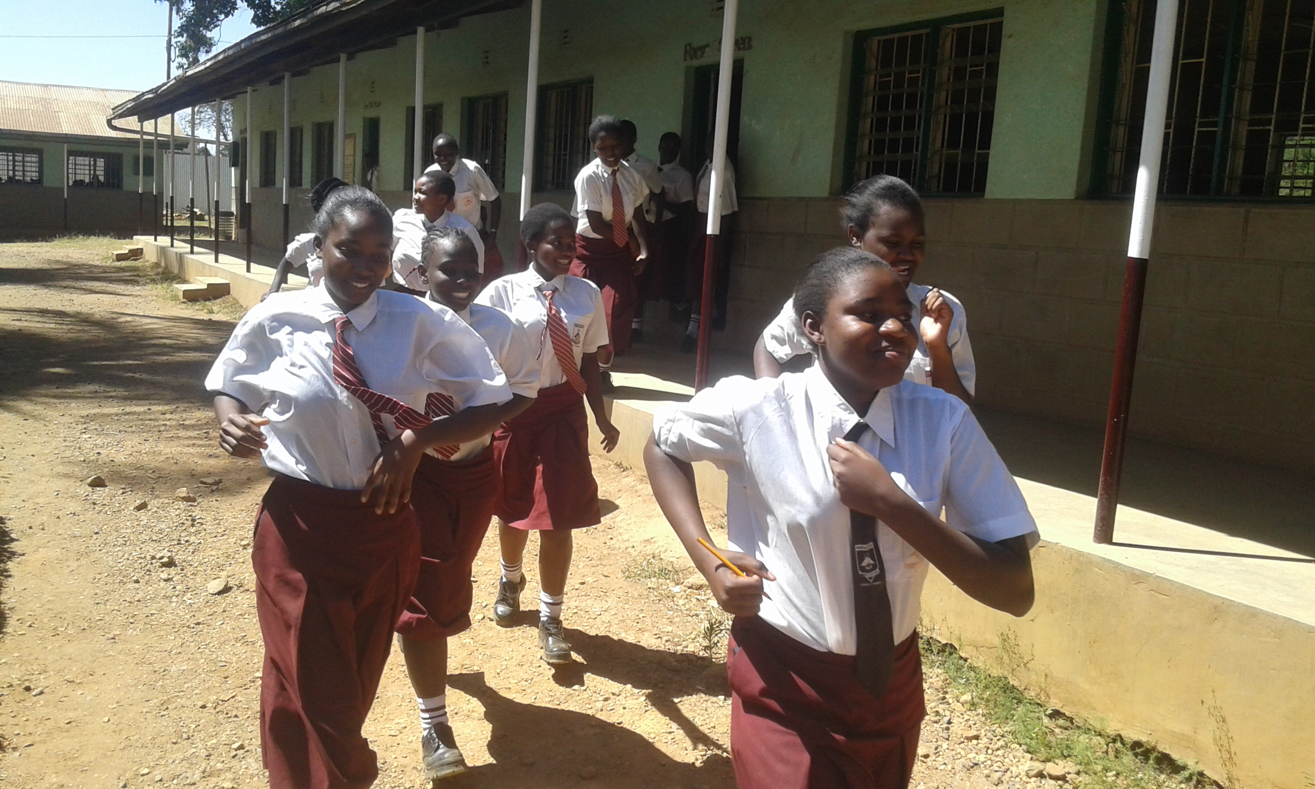 The Water Project : 13-kenya4664-students-rush-to-latrines-at-break
