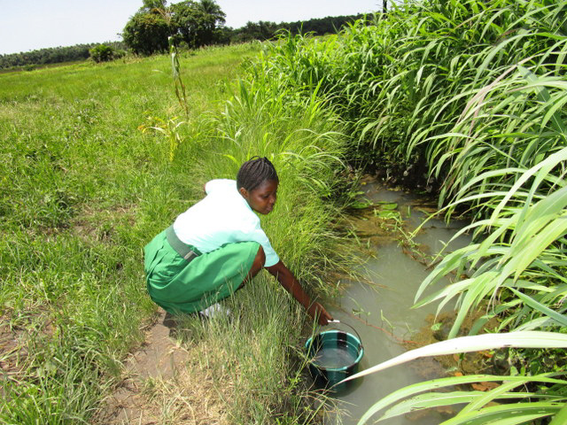 The Water Project : 16-sierraleone5131-student-fetching-water