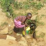 The Water Project: Futsi Fuvili Community, Futsi Fuvili Spring -  Fetching Water