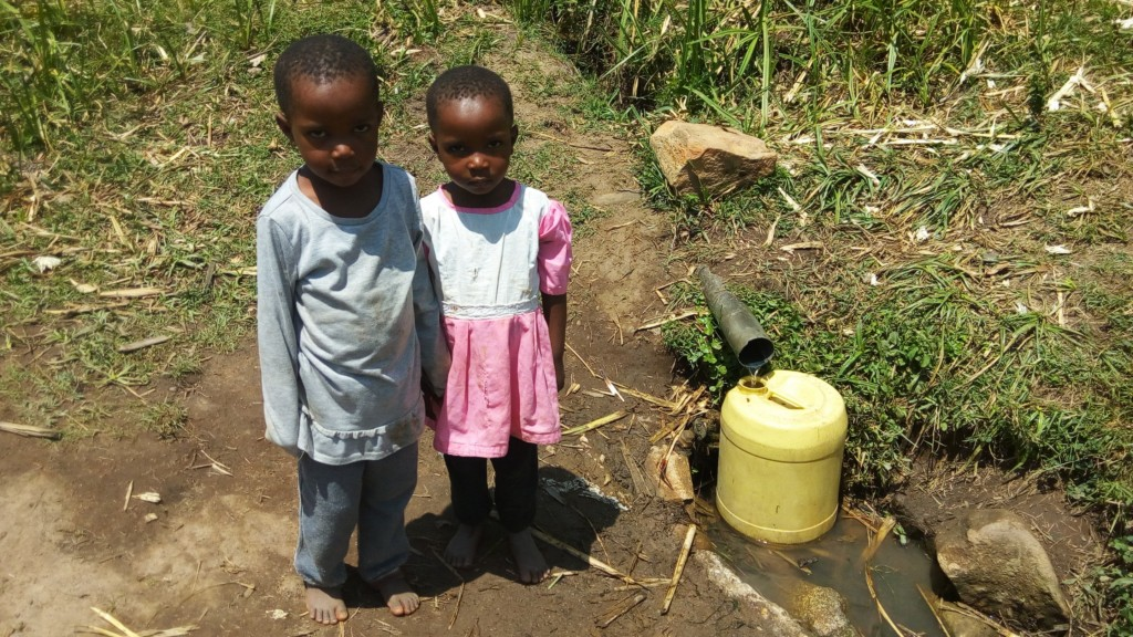 The Water Project : 2-kenya4730-morgan-and-marrion-are-twins-and-beneficiaries-of-the-spring