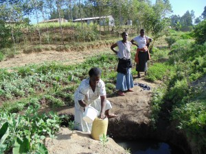 The Water Project:  Mrs Oluchinji Fetching Water At The Spring