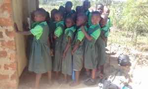 The Water Project:  Girls Lined Up For Latrines