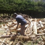 The Water Project: Bishop Sulumeti Girls Secondary School -  Splitting Wood