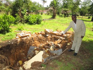 The Water Project:  Collapsed Latrine