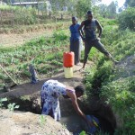 The Water Project: Shiamboko Community, Oluchinji Spring -  Fetching Water