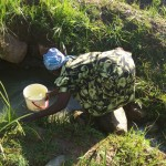 The Water Project: Shikoti Community, Amboka Spring -  Mrs Amboka Fetching Water