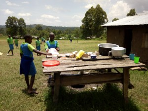 The Water Project:  Students Washing Utensils