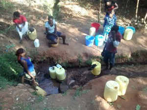 The Water Project:  Morning Line At Isabwa Spring