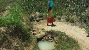 The Water Project:  Mrs Dorah Fetching Water