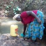 The Water Project: Elunyu Community, Saina Spring -  Elizabeth Fetching Water At Saina Spring