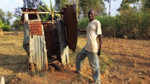 The Water Project:  Mr Francis Next To His Latrine