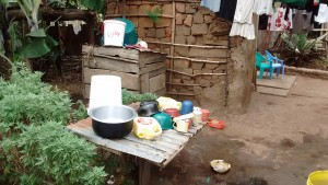 The Water Project : 14-kenya4736-dish-rack-and-clothesline
