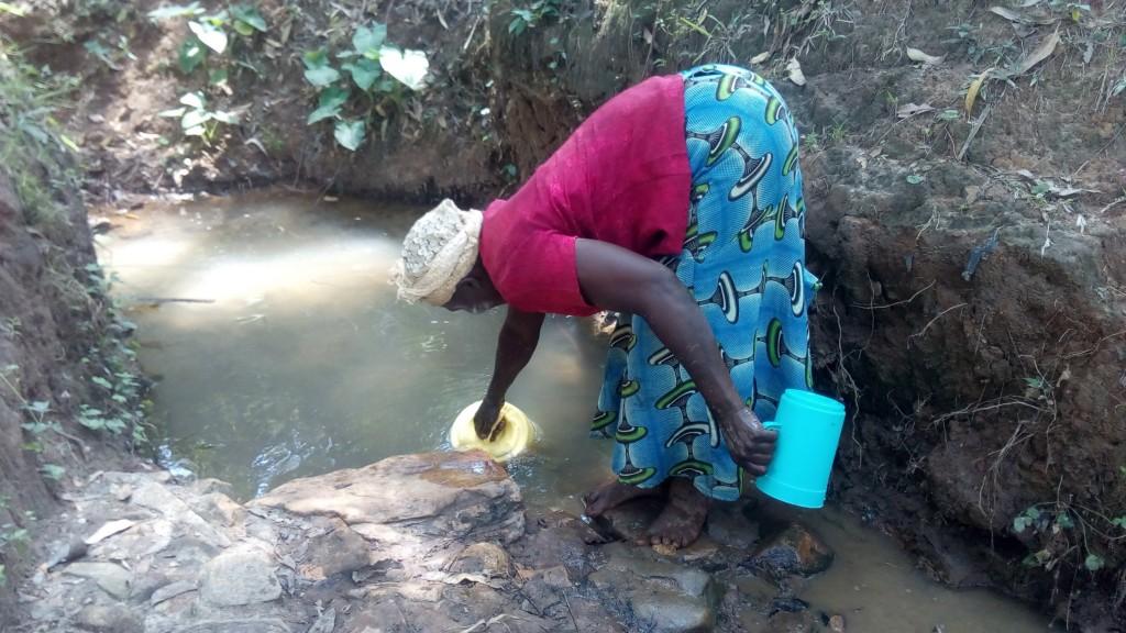 The Water Project : 2-kenya4751-elizabeth-fetching-water-at-saina-spring