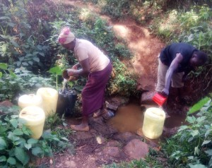 The Water Project : 3-kenya4738-fetching-water-from-shihachi-spring