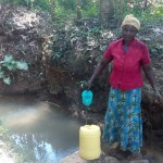 The Water Project: Elunyu Community, Saina Spring -  Fetching Water