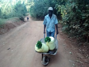 The Water Project:  Man Carries Water With Leaf Lids