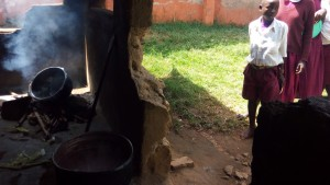 The Water Project:  Older Pupils Line Up At Kitchen